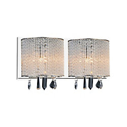 CWI Lighting Benson 16 inch 2 Light Wall Sconce with Chrome Finish