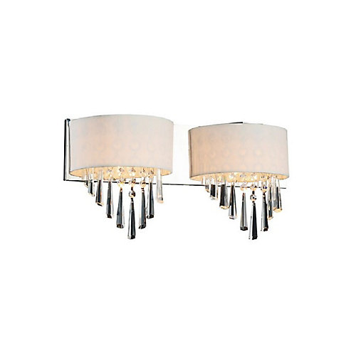 Burney 19 inch 2 Light Wall Sconce with Chrome Finish