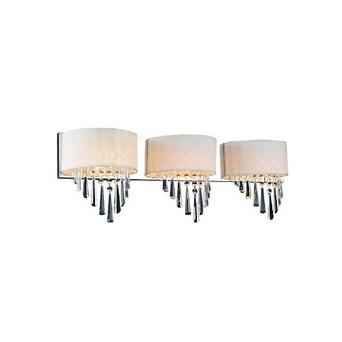 Burney 28 inch 3 Light Wall Sconce with Chrome Finish