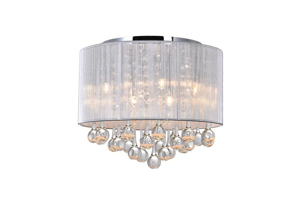 Water Drop 16.5 inch Six Light Flush Mount with Chrome Finish
