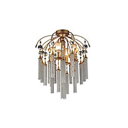 CWI Lighting Chloe 24 inch 7 Light Flush Mount with French Gold Finish