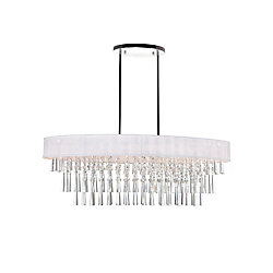 Franca 38 inch 8 Light Chandelier with Chrome Finish