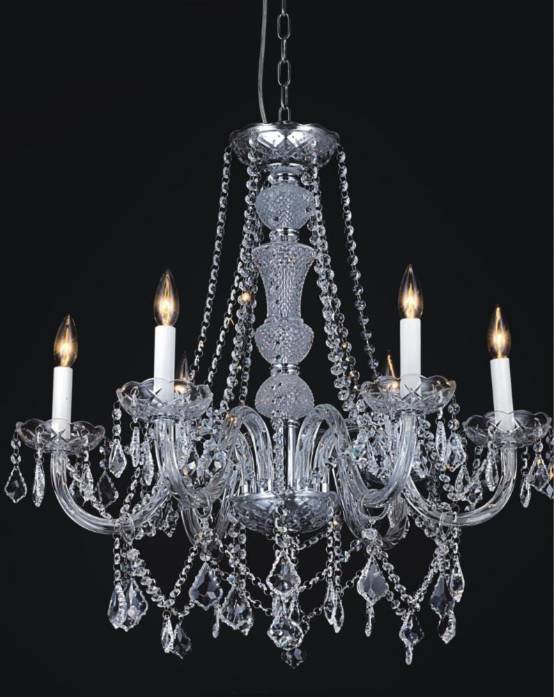 CWI Lighting Princeton 24 inch 6 Light Chandelier with Chrome Finish