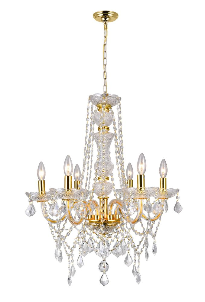 Princeton 24 inch 6 Light Chandelier with Gold Finish