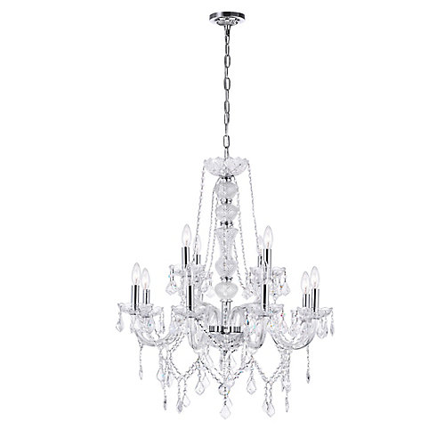 Princeton 30 inch 12 Light Chandelier with Chrome Finish