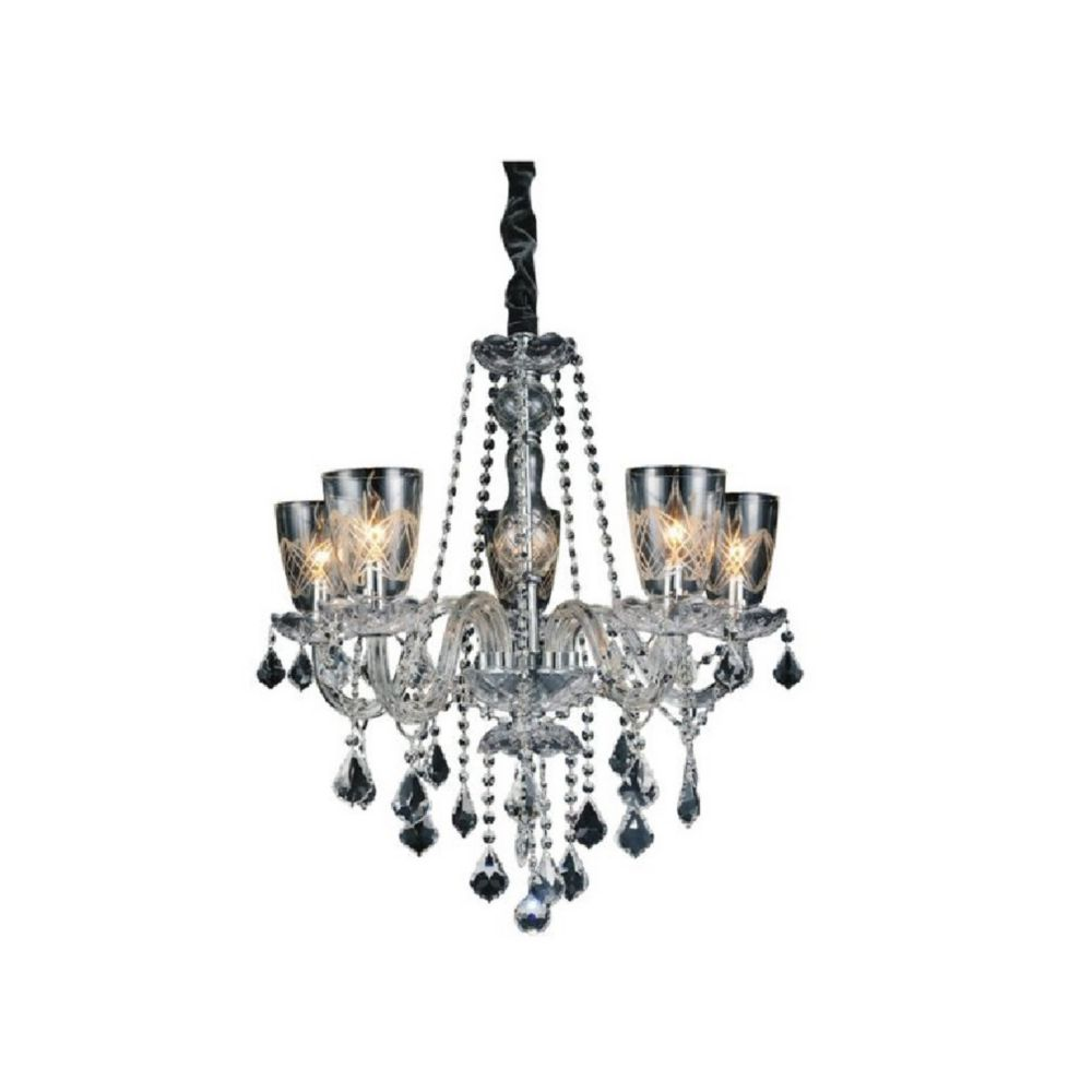 Ella 25 inch 5 Light Chandelier with Chrome Finish