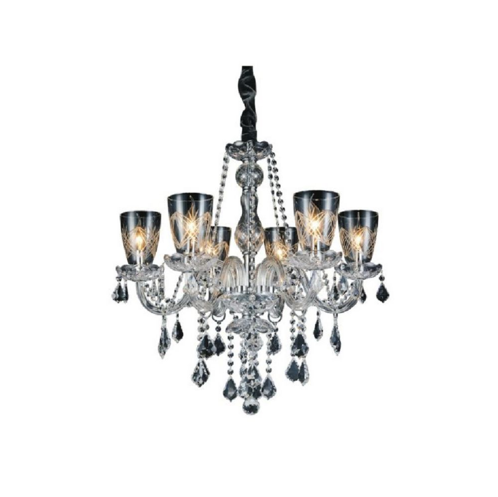 Ella 26 inch 6 Light Chandelier with Chrome Finish