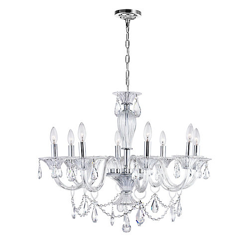 Lexis 28 inch 8 Light Chandelier with Chrome Finish