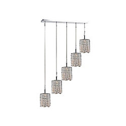 Glitz 35 inch Five Light Chandelier with Chrome Finish