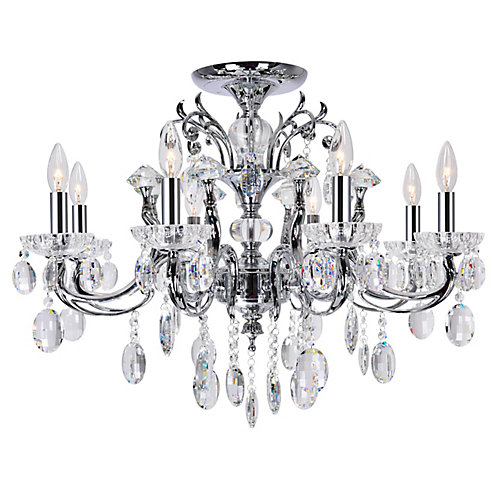 Flawless 30 inch 8 Light Flush Mount with Chrome Finish