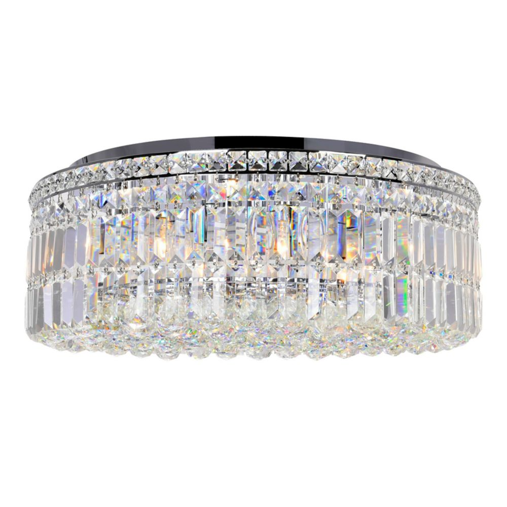 CWI Lighting Colosseum 24 inch 9 Light Flush Mount with Chrome Finish