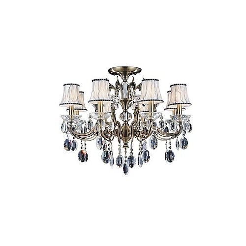 Flawless 29.5 inch 8 Light Flush Mount with Antique Brass Finish