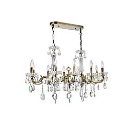 Flawless 37.5 inch 10 Light Chandelier with Antique Brass Finish