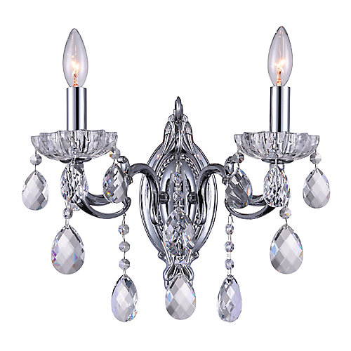Flawless 9 inch 2 Light Wall Sconce with Chrome Finish