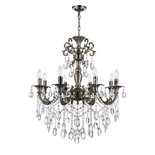 Brass 30-inch 8 Light Chandelier with Antique Brass Finish