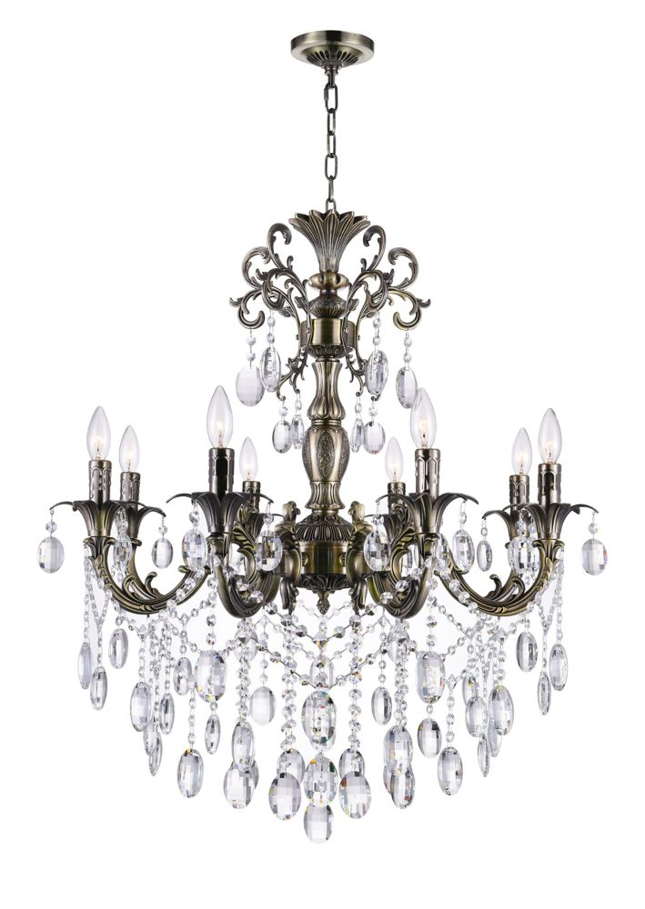 CWI Lighting Brass 30-inch 8 Light Chandelier with Antique Brass Finish