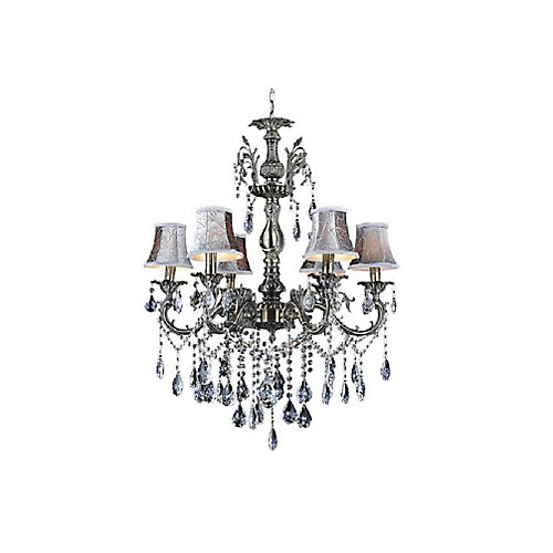 Brass 26 inch 6 Light Chandelier with Antique Brass Finish