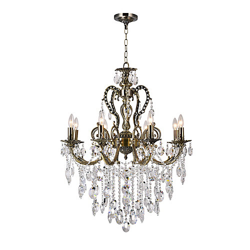 Brass 30 inch 8 Light Chandelier with Antique Brass Finish