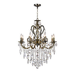 CWI Lighting Brass 30 inch 8 Light Chandelier with Antique Brass Finish