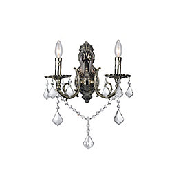 Brass 9 inch 2 Light Wall Sconce with Antique Brass Finish
