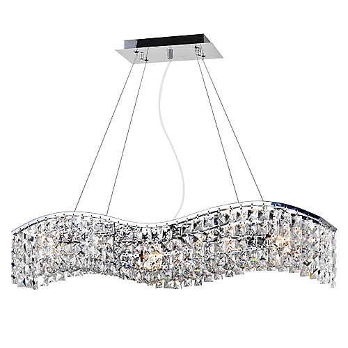 Glamorous 30 inch 5 Light Chandelier with Chrome Finish