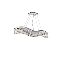 Glamorous 36-inch 7 Light Chandelier with Chrome Finish