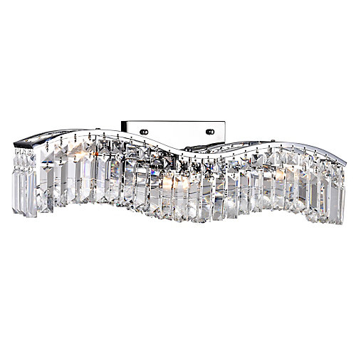 Glamorous 5 inch 3 Light Wall Sconce with Chrome Finish