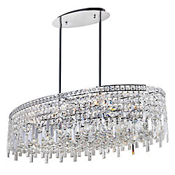 Colosseum 36 inch 10 Light Chandelier with Chrome Finish