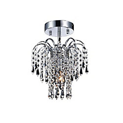 Palm Tree 9 inch 1 Light Flush Mount with Chrome Finish