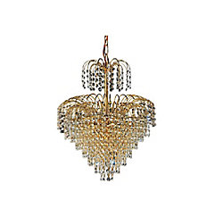 CWI Lighting Palm Tree 16 inch 8 Light Chandelier with Gold Finish