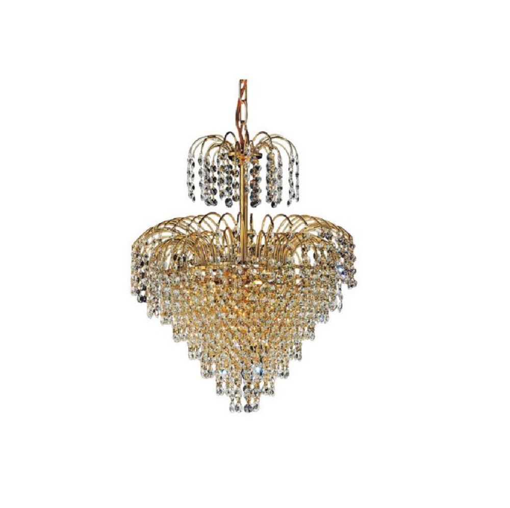 Palm Tree 16 inch 8 Light Chandelier with Gold Finish