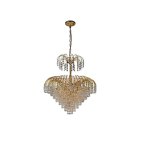 Palm Tree 24 inch 11 Light Chandelier with Gold Finish