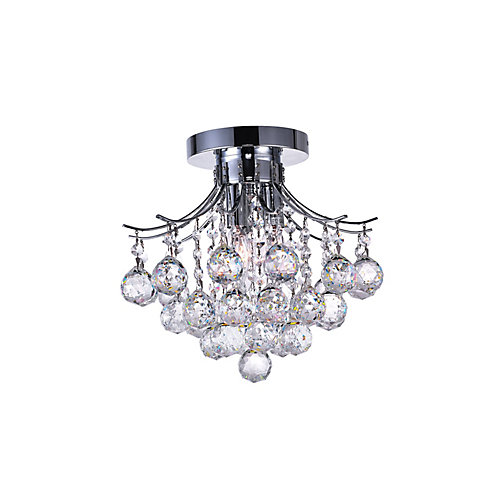 Princess 12 inch 3 Light Flush Mount with Chrome Finish