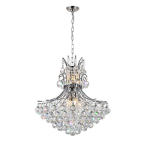 Princess 24 inch 10 Light Chandelier with Chrome Finish