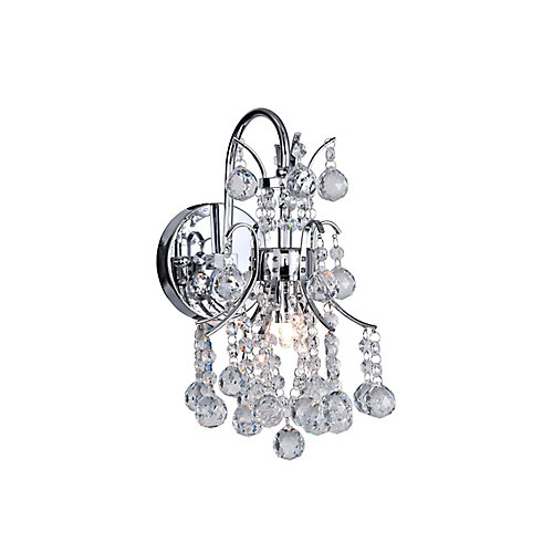 Princess 9 inch 1 Light Wall Sconce with Chrome Finish