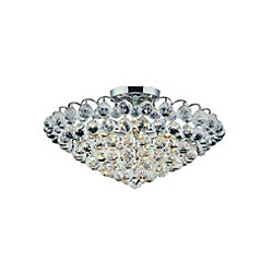Glimmer 22 inch 8 Light Flush Mount with Chrome Finish