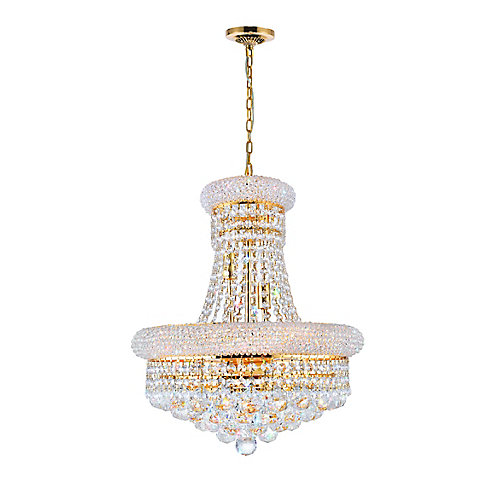 Empire 18 inch 8 Light Chandelier with Gold Finish