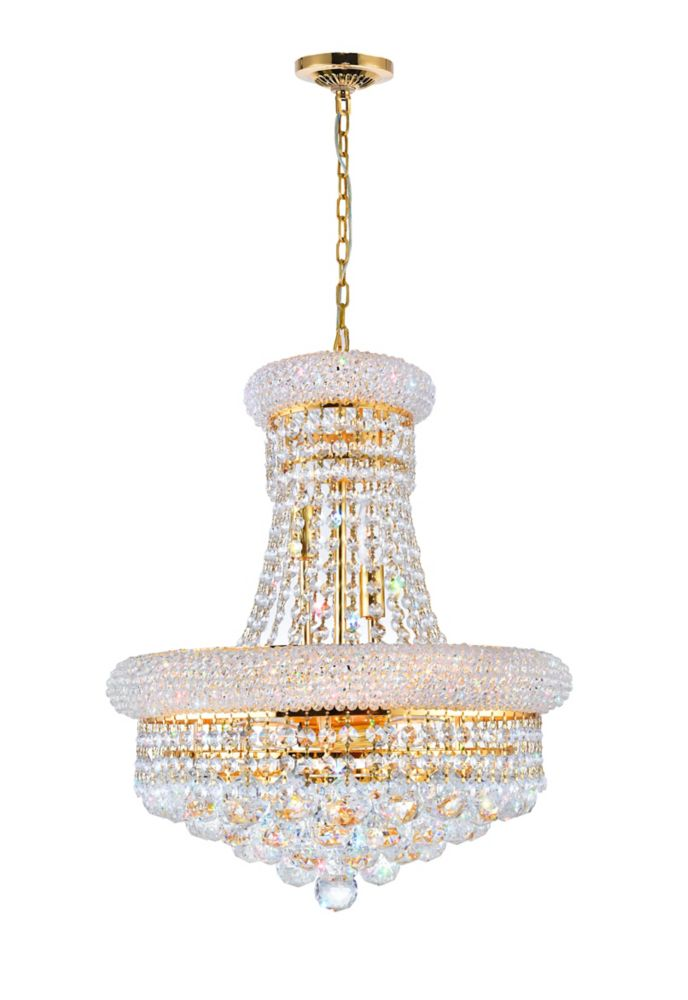 CWI Lighting Empire 18 inch 8 Light Chandelier with Gold Finish