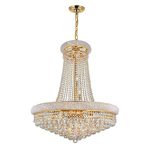 Empire 32 inch 19 Light Chandelier with Gold Finish