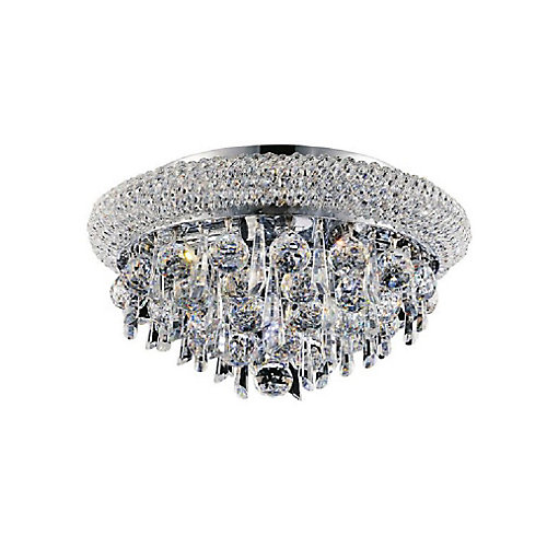 Kingdom 16 inch 6 Light Flush Mount with Chrome Finish