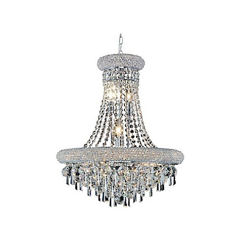 Kingdom 26 inch 17 Light Chandelier with Chrome Finish