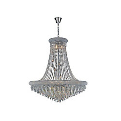 Kingdom 36 inch 20 Light Chandelier with Chrome Finish
