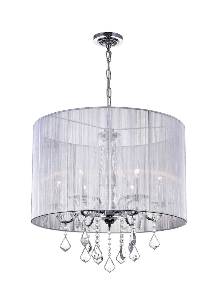 Sheer 24 inch 6 Light Chandelier with Chrome Finish