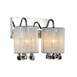 CWI Lighting Water Drop 12 inch 2 Light Wall Sconce with Chrome Finish