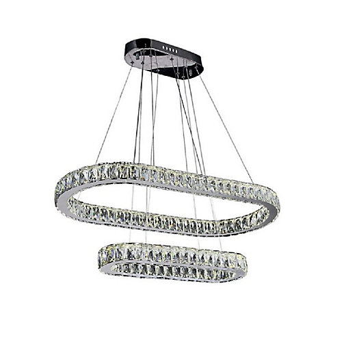 Milan 34 inch LED Chandelier with Chrome Finish