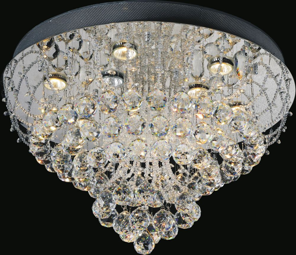 CWI Lighting Fountain 24 inch 9 Light Flush Mount with Chrome Finish