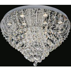 CWI Lighting Fountain 32 inch 12 Light Flush Mount with Chrome Finish