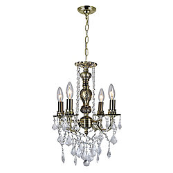 Brass 13 inch 4 Light Mini Pendant with Antique Brass Finish