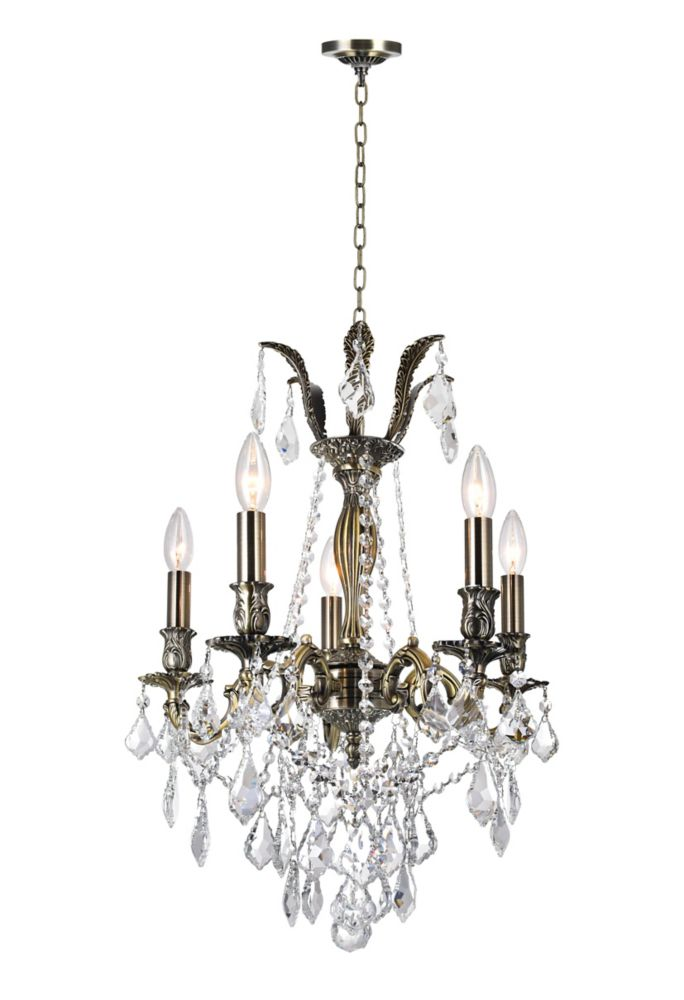 Brass 18-inch 5 Light Chandelier with Antique Brass Finish