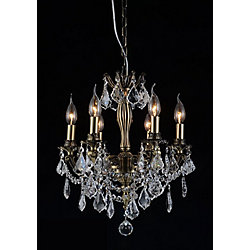 Brass 18 inch 6 Light Chandelier with Antique Brass Finish